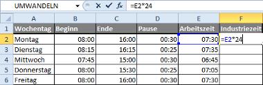 Formel: Uhrzeit mit Excel in Industriezeit umwandeln