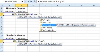 Formel: Minuten und Stunden in Excel umwandeln