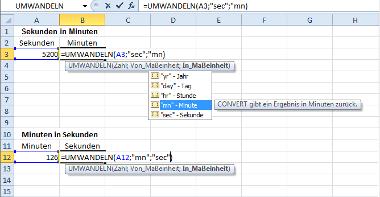Formel: Sekunden und Minuten in Excel umwandeln