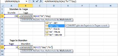 Formel: Stunden und Tage in Excel umwandeln