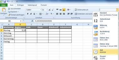 Zeitangaben in Excel als Dezimalzahl formatieren