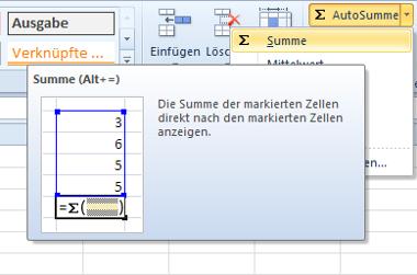 Zeiträume in Excel berechnen mit Klick auf ∑
