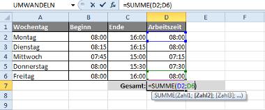 Zeiträume in Excel berechnen mit der Formel: =SUMME(Zahl1;Zahl2)