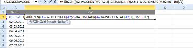Excel-Formel für Kalenderwochen in Excel 2007 und älteren Versionen