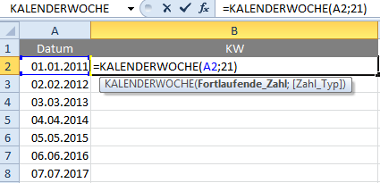 Excel-Formel für Kalenderwochen in Excel 2010