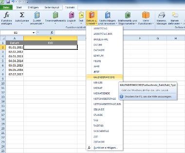 Excel-Formel für Kalenderwochen über Menü bestimmen - Schritt 1