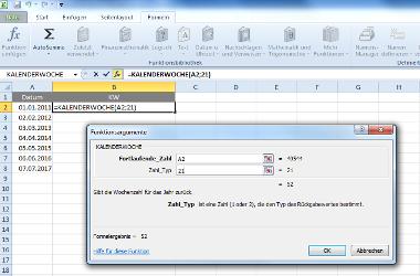 Excel-Formel für Kalenderwochen über Menü bestimmen - Schritt 2